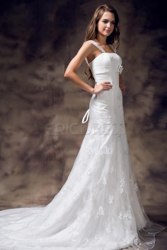 $ 207.59 Trendy Mermaid Straps Embroidery Lace-up Floor Length Wedding Dress