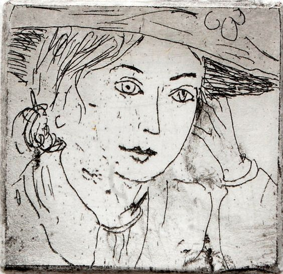 Her Face portrait of a woman in a straw hat. Black by AtelierConti