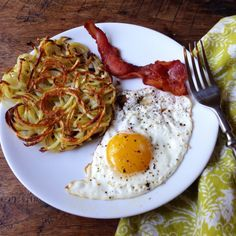 Hash browns! Such a delicious way to put the spiralizer to use. Cooking Light