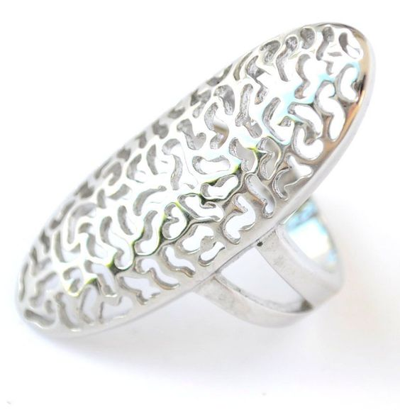 Ladies Cocktail Chunky Grey Silver Ring Oval Stainless Steel Size 6.5 Arty 6 M