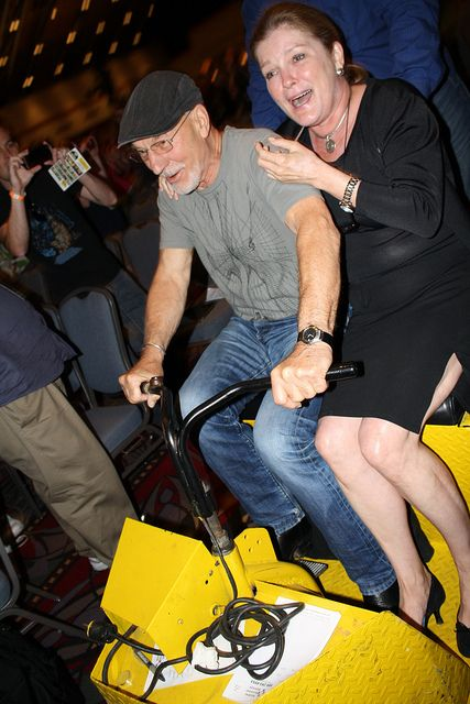 Patrick Stewart & Kate Mulgrew riding around on their Scooter by blackunigryphon.  I would have paid good money to see this!! :)