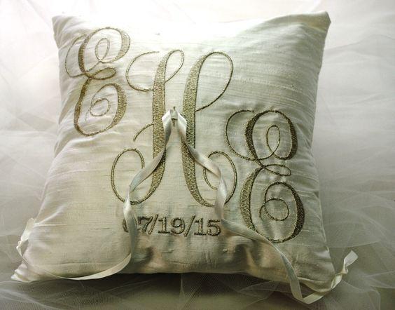 monogrammed ring bearer pillow by TimelessWeddingsShop on Etsy