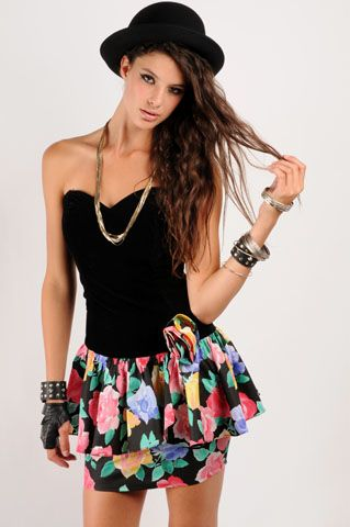 Harley Floral Party Dress - NASTY GAL - Vintage Clothing, 80s ...