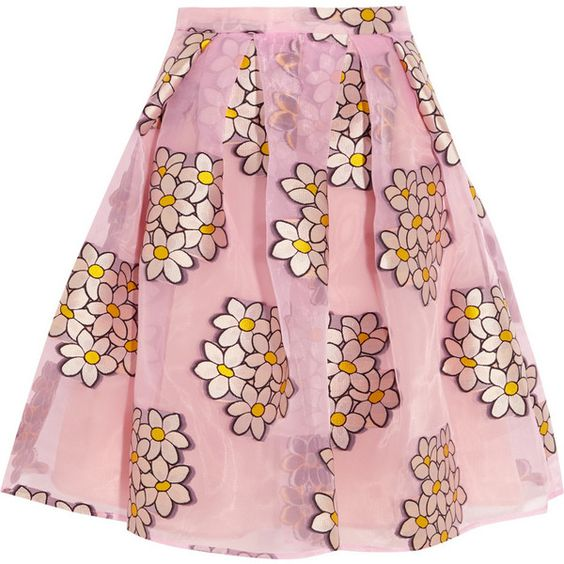 REDValentino Fil coupé organza mini skirt featuring polyvore, fashion, clothing, skirts, mini skirts, bottoms, valentino, pink, pink slip, see through skirt, pink pleated skirt, flare skirt and short mini skirts