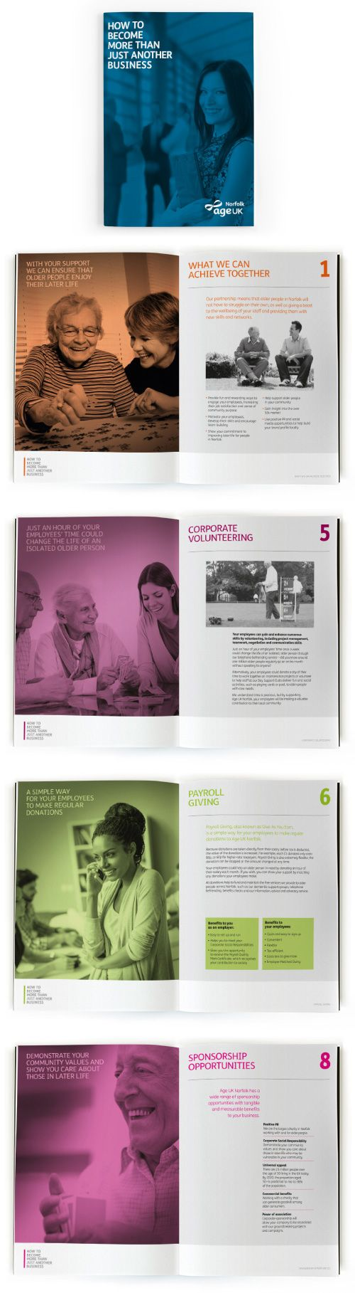 Corporate Fundraising Brochure Design – Age UK. Robot Mascot