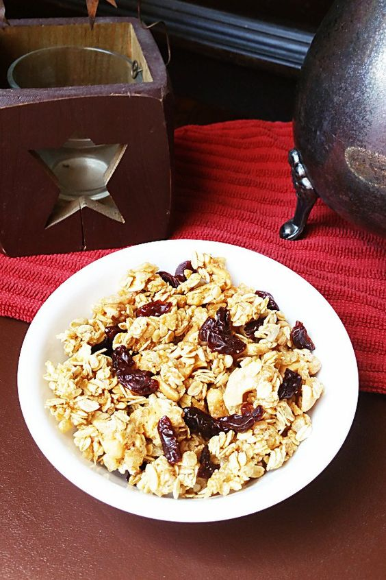 Butter-free, oil-free, and sweetened with pure maple syrup, this crunchy cherry vanilla granola is a wonderful and nutritious addition to breakfast.