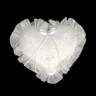 blanco satinado pequeño corazón anillo de boda portador almohada – EUR € 16.49