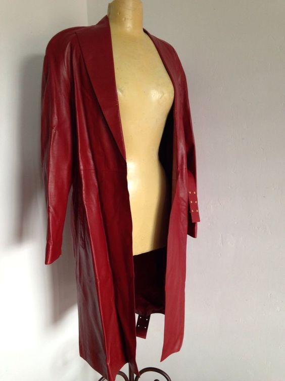 MARIO VALENTINO ITALIAN TRES CHIC 80's RED LEATHER BELTED COAT #MARIOVALENTINO