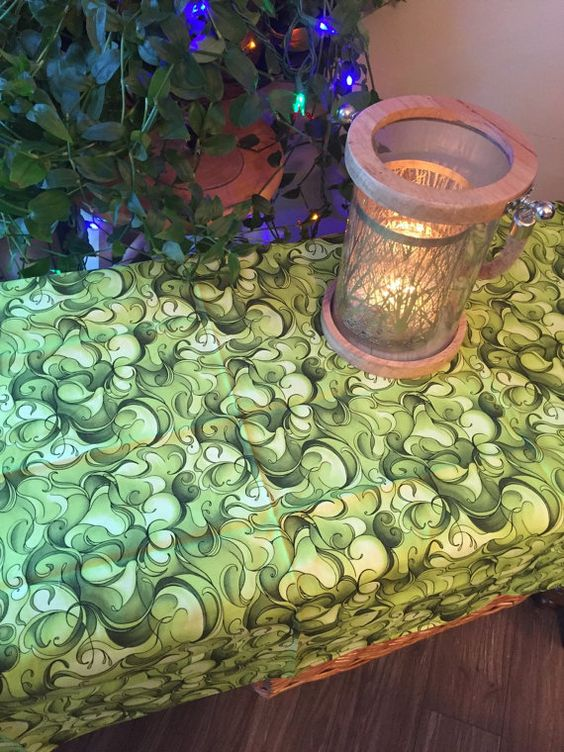Green Modern Swirl Pagan Wiccan Altar Table by WestCoastWitch