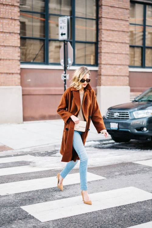 statement coats rust colored with denim