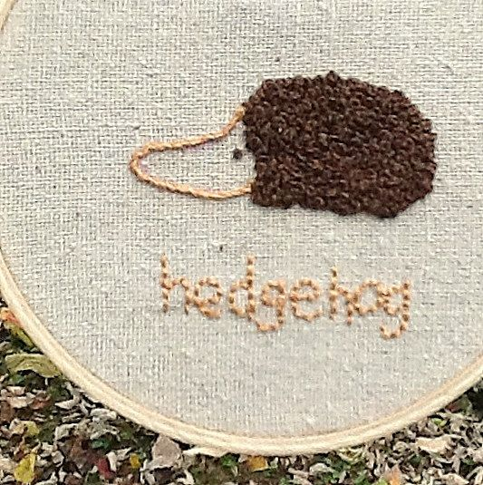 Hedgehog Small Embroidery Hoop Colonial Knot by KristaWorkLinens, $6.00