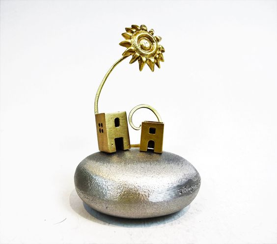 Metal miniature sea pebble with houses and sun on top. Greek island. Greek summer. Gift ideas. House decoration. home decor. Greek souvenir by Paraschis on Etsy