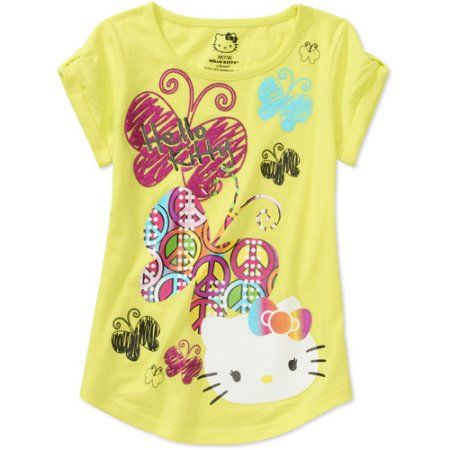 Hello Kitty Girls Short Sleeve Graphic Tee, Yellow