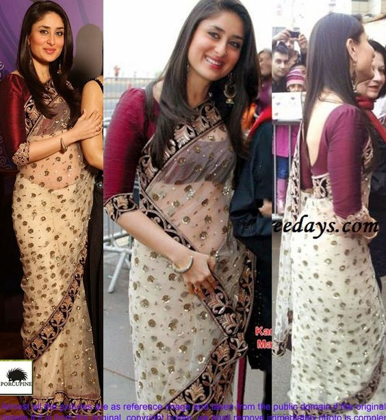 #Kareena #Kapoor Net Machine & Thread Work Cream #Bollywood Style #Saree  #desi style #shaadi #designer #outfit #inspired #beautiful #must-have's #india #bollywood #south asain #StayTrendyWithIndiaRush