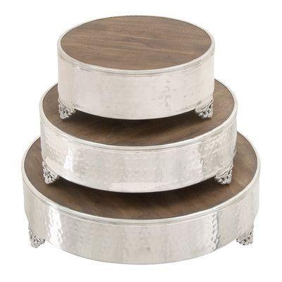 Cole & Grey 3 Piece Aluminum Wood Cake Stand Set