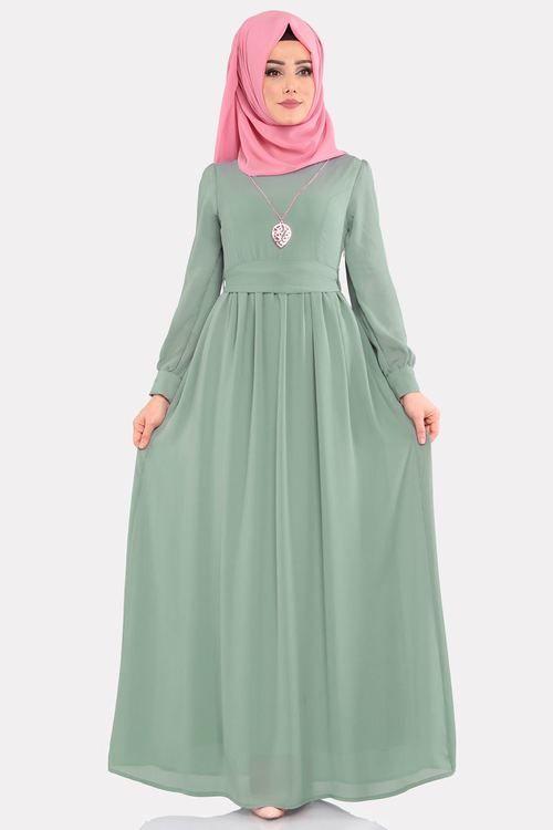 Modaselvim Elbise Kemerli Tesettur Elbise 3687 2mb205 Mint Pakaian Wanita Wanita Kasual