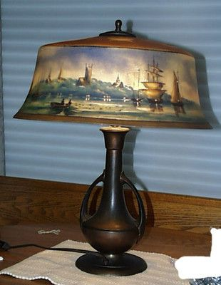 Original Pairpoint New Bedford Harbor Scene Reverse Painted Lamp & Base Working  $3,995.00: Antique Lamps, Painted Lighting, Lamp Bases, Original Pairpoint, Moonlight Or