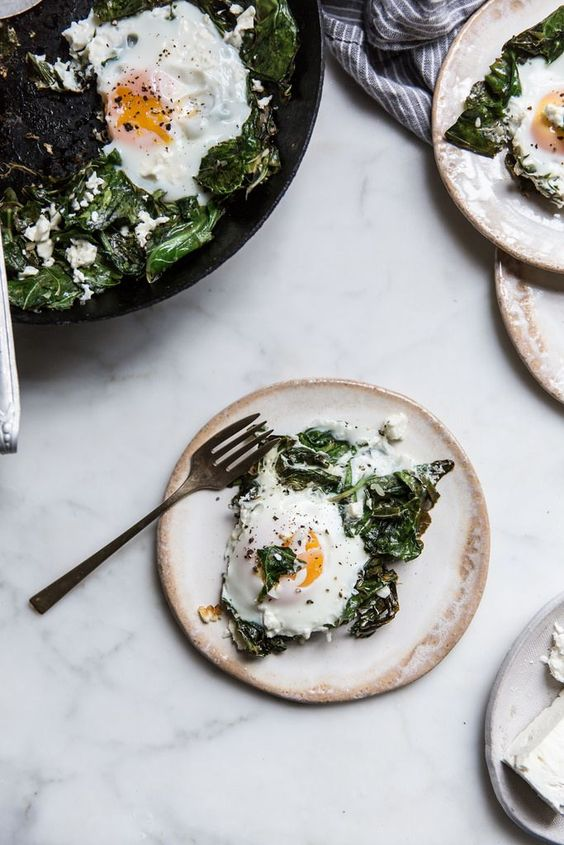Local Milk | garlic ginger collard greens + eggs & feta