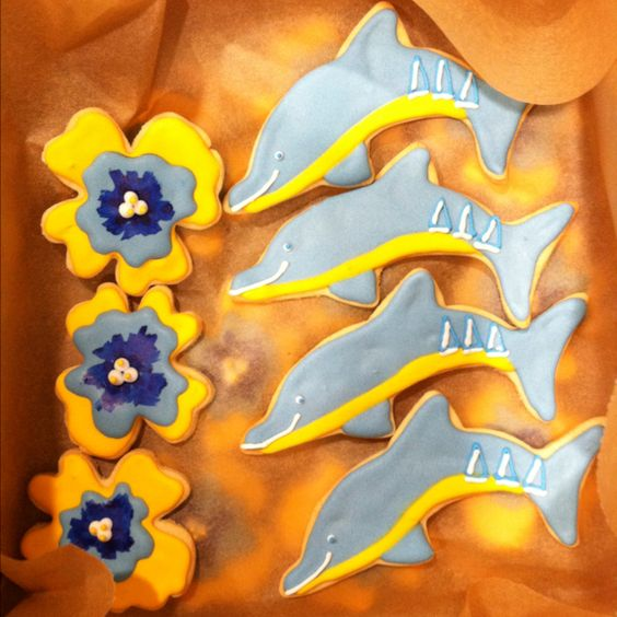 Tri delta dolphin and pansy sugar cookies
