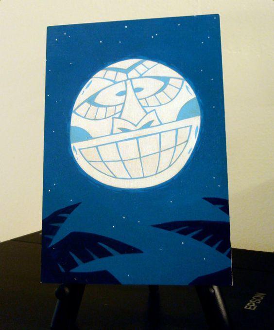 "Tiki Moon, Original Acrylic Painting on an Unframed, 5"" x 7"" Maple Panel - FREE SHIPPING on Etsy, $50.00"