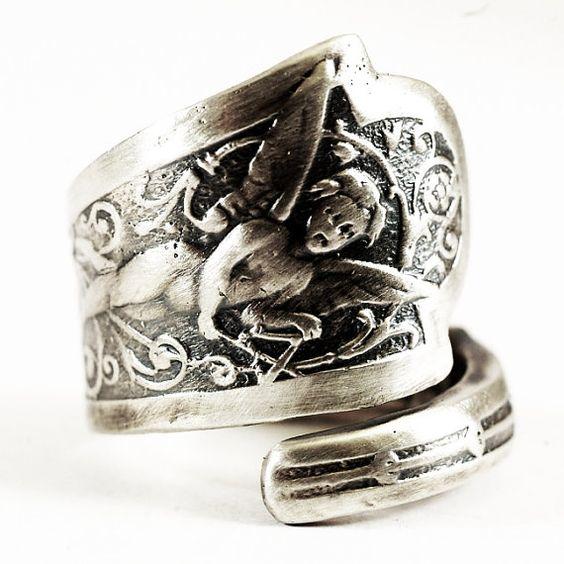 Spoon Ring Fairy Pattern Figural Art Nouveau Ring in by Spoonier