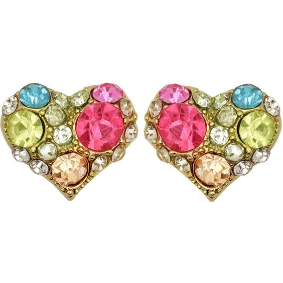 Kate Marie Goldtone Multi-colored Rhinestone Heart Design Earrings ($11) ❤ liked on Polyvore featuring jewelry, earrings, gold, gold tone earrings, multi color earrings, multi colored earrings, rhinestone stud earrings and earrings jewelry
