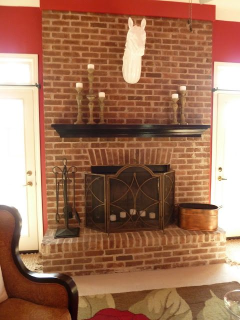 Classic red brick fireplace makeover ideas white horse - Red brick fireplace makeover ideas ...