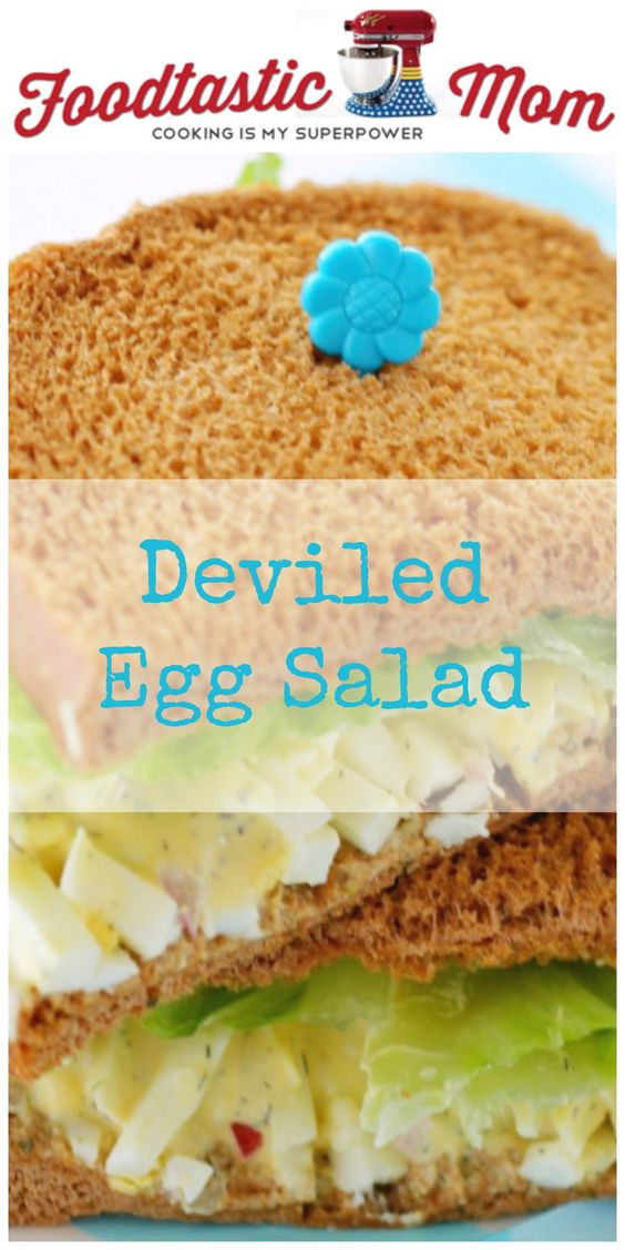 Deviled Egg Salad Sandwich on Klosterman Dark Rye Bread by Foodtastic Mom #packyourlunchday