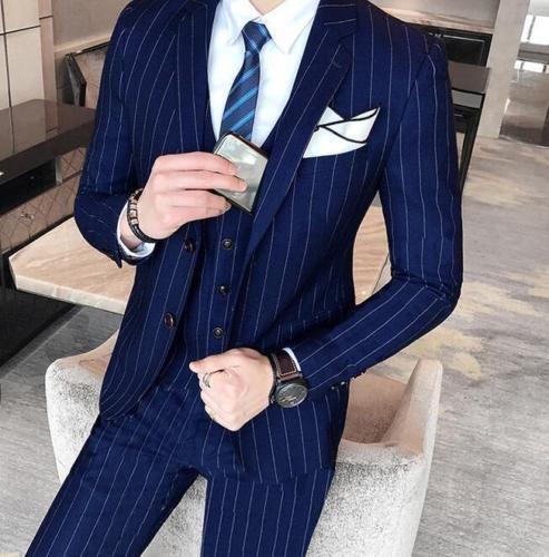 Mens Jacket Pants Vest 3 Piece Suit Floral Korean Slim Fit Wedding Business Size