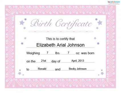 Free Baby Book Printables Family and Parenting – Baby Birth Certificate Template