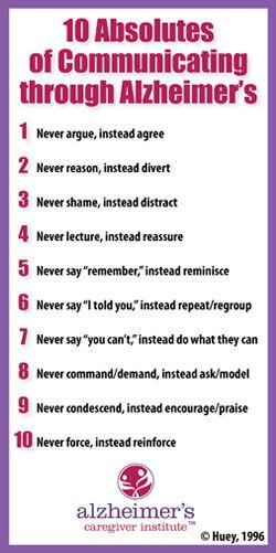 Jo Huey's Ten Absolutes of Alzheimer's Care