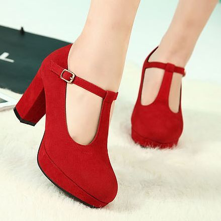 Red Chunky Heel Pumps