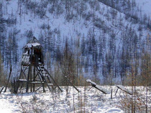 Stalin's gulag tower on the way to Verkhoyansk in Yakutia, Siberia, Russia