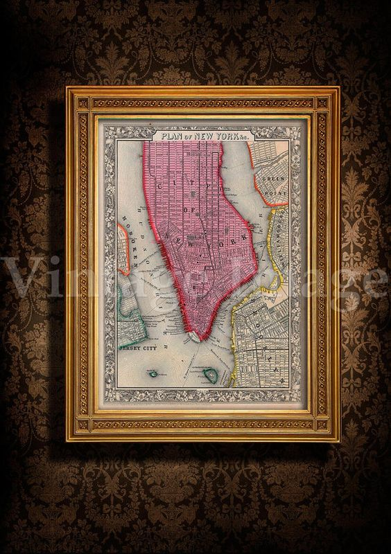 Old Map of New York City  1860 Antique Restoration Hardware Style NYC MAP  sizes up. Old Map of New York City  1860 Antique Restoration Hardware Style
