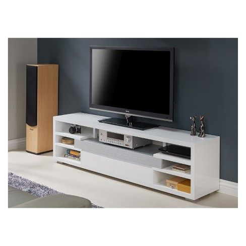 Lavante Contemporary Tv Stand Glossy White Homes Inside Out