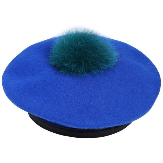04461d98ab0 Eugenia Kim Women Hadley Wool Felt Beret With Fur Pompom IDR) ❤ liked on  Polyvore featuring accessories