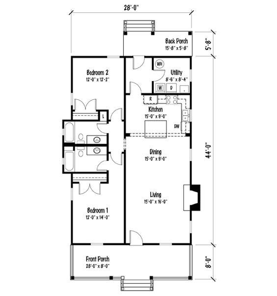 Shotguns shotgun house and house plans on pinterest for Shotgun floor plans