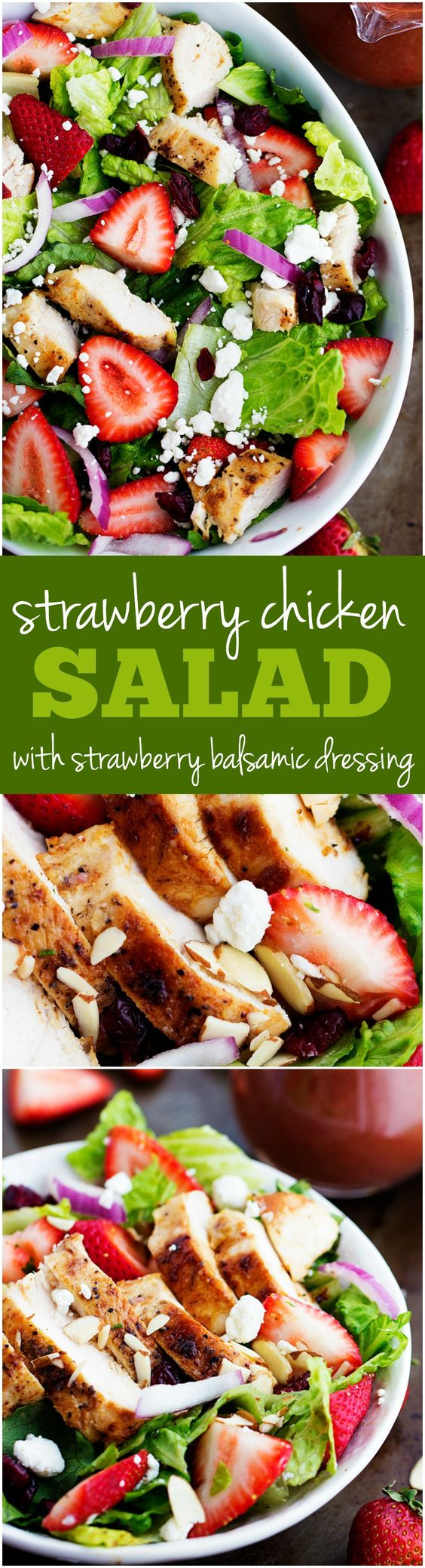 This Strawberry Chicken salad is full of fresh strawberries and topped with a strawberry balsamic dressing. Perfect for summer!: