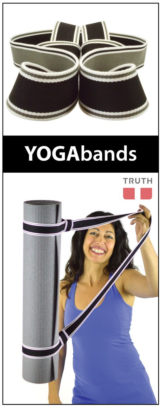 This YOGAband is sweet because it's black on one side and grey on the other. It's an easy and fun way to carry your yoga mat! Made in Canada. www.truthbelts.com $20.00