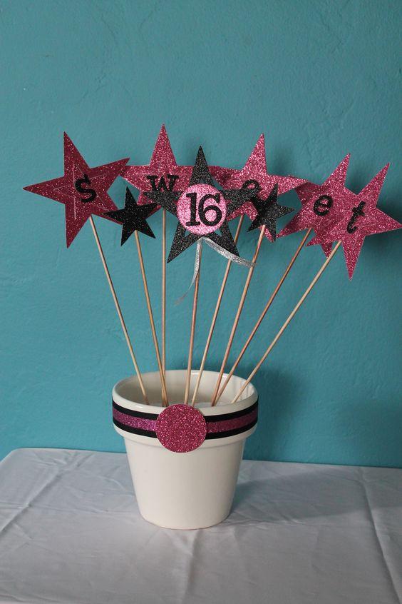 Sweet 16 Centerpiece Bday Party Pinterest