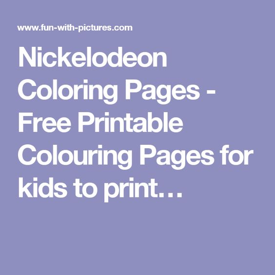 Nickelodeon Coloring Pages - Free Printable Colouring Pages for kids to print…