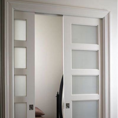 Double pocket doors for laundry room, frosted glass to match ...