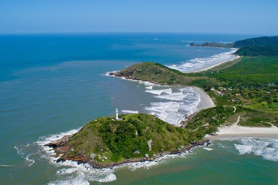 Aerial view of Ilha do Mel island, Paraná, Brazil