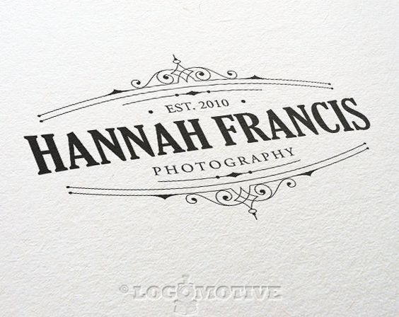 A professionally made Premade logo design with a delicate victorian style typographic motif and retro feel customizable with your business name,