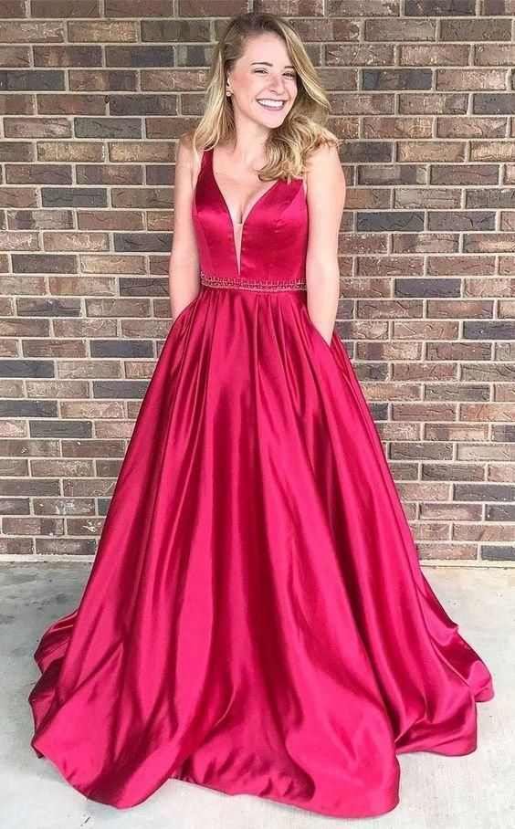A Line Prom Dress With Pockets For Teens In 2020 Prom Dresses With Pockets Red Prom Dress Prom Dresses Sleeveless