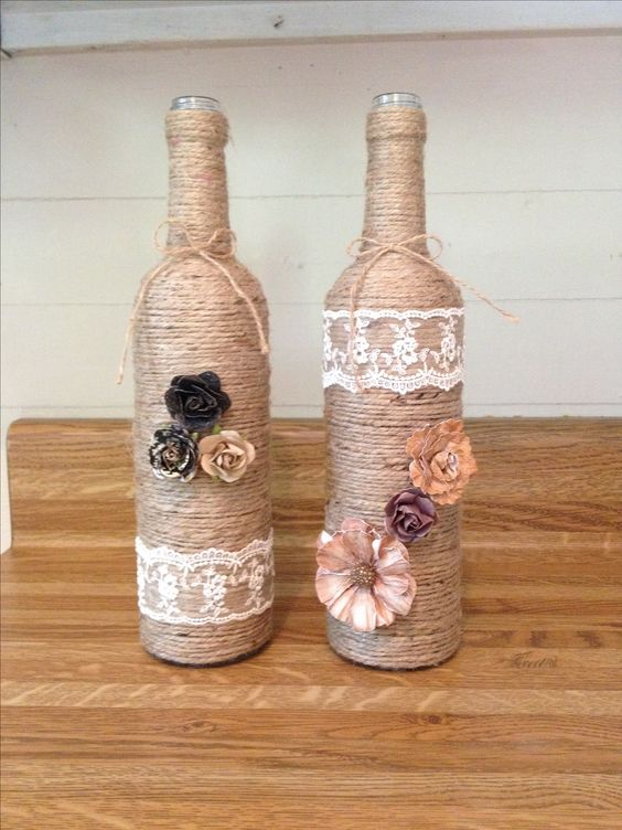 Diy Twine Wine Bottles Home Decor On A Budget Projects I Have Done Pinterest Wine