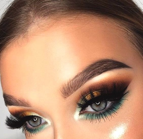 Green And Gold Bold Eyeshadow Makeup Look Night Out Makeup Min