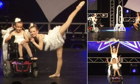 Sisters have amazing dance routine despite one being in a wheelchair-Kentucky sisters Quincy Latkovski (right) , 11, and Gracie Latkovski, (left) 9, don't let Gracie's cerebral palsy get in the way of dancing at Jamfest Super Nationals. Both Quincy and Gracie incorporate wheelchairs in their heart-warming routine set to 'Reflection' from popular the Disney film Mulan.   'There wasn't a dry eye in the house,' Jamfest representative Hayley Reyes said of their unique performance. <3