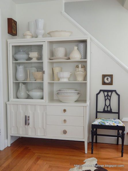 vintage modern painted hutch, painted furniture
