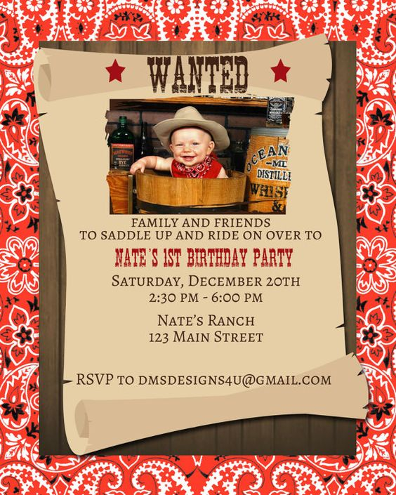 Wanted Invitation Wanted Invitations AnnouncementsCowboy – Wanted Invitation